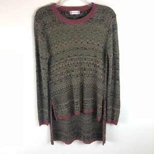 Altar'd State Olive Knits High Low Sweater